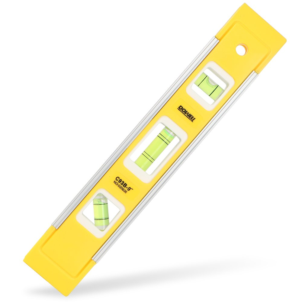 DOWELL 9 Inch Magnetic Box Level Torpedo Level 3 Different Bubbles 45° 90° 180°Measuring Shock Resistant Torpedo Level