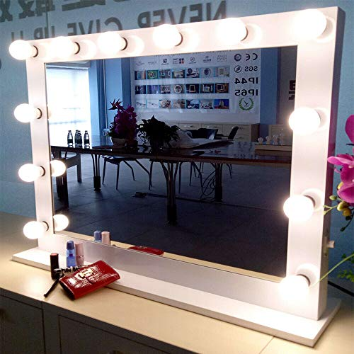 SuxiDi White Hollywood Makeup Vanity Mirror with 14 Dimmable Light Bulbs, LED -