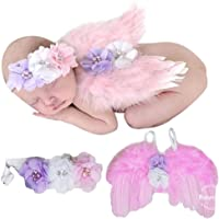 Babymoon (Set of 2) Crystal Wings with Headband New Born Baby Photography Shoot Props Costume (Pink)