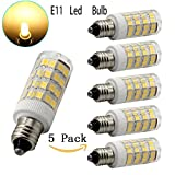 E11 led bulb, 40W Equivalent Halogen Replacement Lights, Dimmable, Mini Candelabra Base, 400 Lumens Warm White 3000K, AC110V/ 120V/ 130V, Replaces T4 /T3 JD Type clear e11 light bulb 5-pack