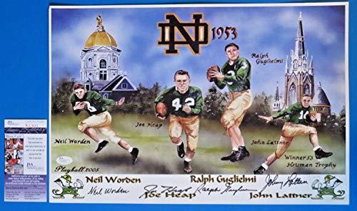 1953 Notre Dame Football Autographed Signed Memorabilia 12X16 Lithograph 4 Autographs - JSA Authentic