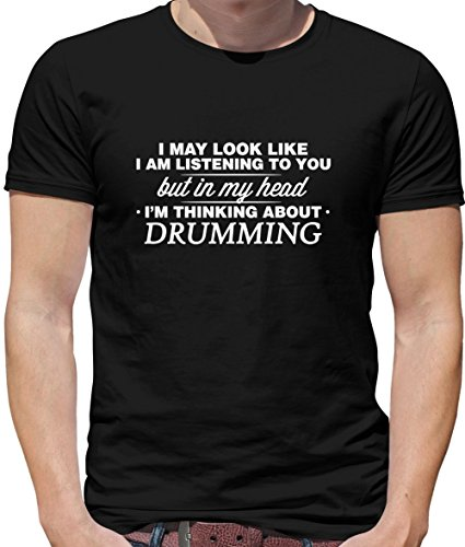 in My Head I'm Drumming - Mens Crewneck T-Shirt - Black Medium -