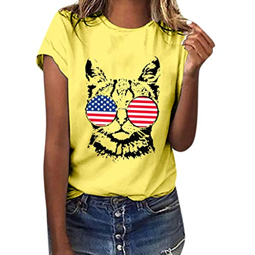 Womens Casual American Flag Cat Print Patriotic T-Shirt Summer Sexy Short Sleeve July 4th Shirt Independence Day Tee Yellow