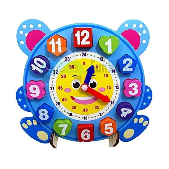 FunBlast Wooden Clock Puzzle Toy for Kids Digital Clock Wood Jigsaw Block Toys for Children Education Cartoon Animal