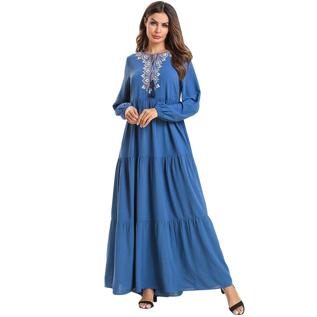 Randolly Women's Dresses  Muslim Embroidery Multi-Layer Folds Long Maxi Dress Robe Blue