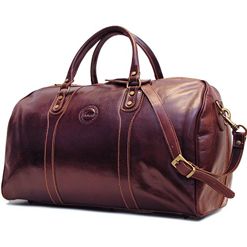 Cenzo Duffle Vecchio Brown Italian Leather Weekender Travel Bag ()