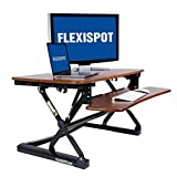 FLEXISPOT M2MG Standing Desk Riser - 35'' Wide Platform Height Adjustable Stand up Desk Computer Riser with Removable Keyboard Tray (Medium Size Mahogany)
