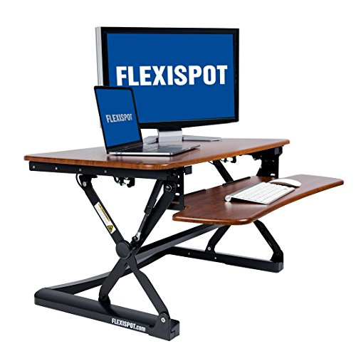 FLEXISPOT M2MG Standing Desk Riser – 35 Wide Platform Height Adjustable Stand up Desk Computer Riser with Removable Keyboard Tray Medium Size Mahogany