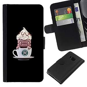 Café divertida del monstruo Pequeño- la tarjeta de Crédito Slots PU Funda de cuero Monedero caso cubierta de piel Para HTC One M9