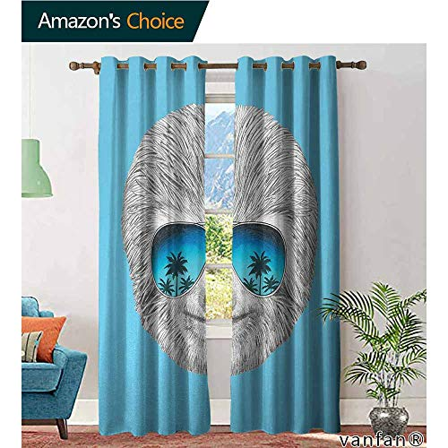 LQQBSTORAGE Sloth,Print Curtains for Bedroom Curtain,Portrait of Sloth with Mirror Sunglasses Exotic Palm Trees Hawaiian Beach Hipster,Grommet Window Treatment Set for Living Room,Grey Blue Aqua