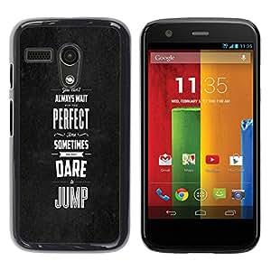 EJOY---Cubierta de la caja de protección la piel dura para el / Motorola Moto G 1 1ST Gen / --Perfecto veces se atreven saltar