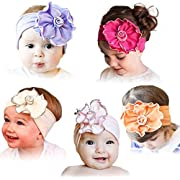 QandSweet Baby Stretchy Headbands with Flower Girl's Soft Cotton Hairbands (5 Pack)