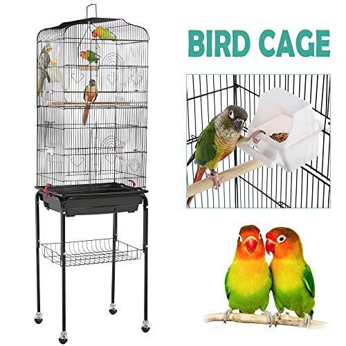 Yaheetech 59.3'' Rolling Standing Medium Flight Bird Cage for Cockatiel Quaker Parrot Sun Parakeet Green Cheek Conure Finch Budgie Lovebird Parrotlet Canary Pet Bird Cage with Stand, Black