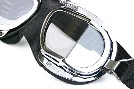 PVC Facemask Halcyon Mark 9 Deluxe Chrome Motorcycle Goggles with Brass Frames Black PVC Facemask, Compact
