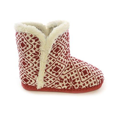Zapatillas de estar por casa estilo botín para mujer Rojo/Blanco