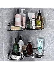 Adhesive Bathroom Shelf, Metal Shower Caddy Corner Shelf Wall Mounted, Non-Drilling Floating Shelf for Bathroom Organizer/Shower Organizer/Kitchen