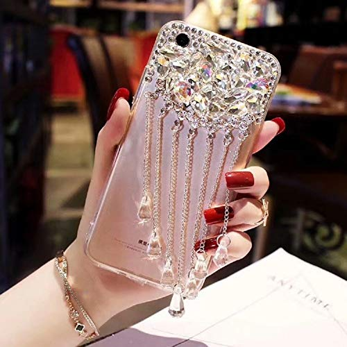Cfrau Clear Tassel Case with Black Stylus for iPhone 7 Plus,Luxury 3D Crystal Glitter Sparkle Shiny Rhinestone Diamond Protective Case Compatible with iPhone 7 Plus/8 Plus 5.5 inch ()