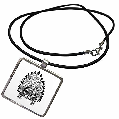 3dRose Sven Herkenrath Animals - Sketch Bulldog With Indian Feather Headdress Black And White - Necklace With Rectangle Pendant (White Dog Head Necklace)