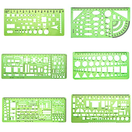6 Pieces Plastic Measuring Templates Building Formwork Stencils Geometric Drawing Rulers for Office and School, Clear Green by Nanooer