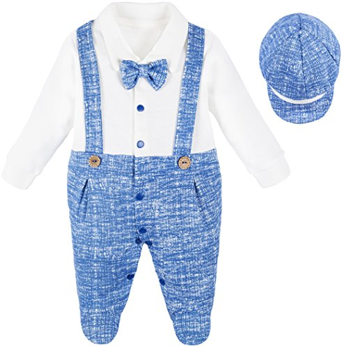 Lilax Baby Boy Gentleman Outfit Footie with Bow Tie and Hat 2 Piece Set 0-3 Months Blue