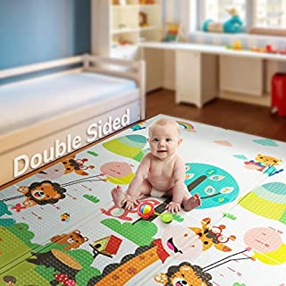 "Foldable Play Mat | Non-BPA Non-Toxic Foam Baby Playmat (79"" x 71"") 0.4"" Thick Extra Large Reversible Crawling Mat Portable Toddlers Kids Waterproof Non-Slip Activity Tummy Time (Road of City)"