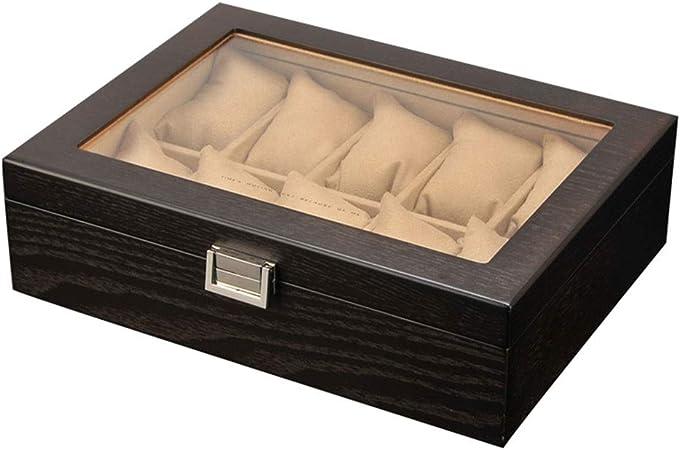 0LL Caja Relojes Hombre Estuche/Guarda Relojes Hombre para 10 Relojes Madera Tapa de Cristal con Cerradura para Guardar Relojes en el Hogar, Viajes, Negocios (Color : B): Amazon.es: Hogar