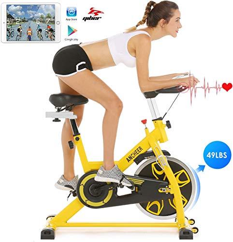 🥇 Ancheer Bicicleta de Spinning Bicicleta Indoor de Volante de Inercia de 22kg/18kg Bicicletas deCiclo con Conecto con App Resistencia Ajustable y Monitor LCD para Ejercicio en el Hogar