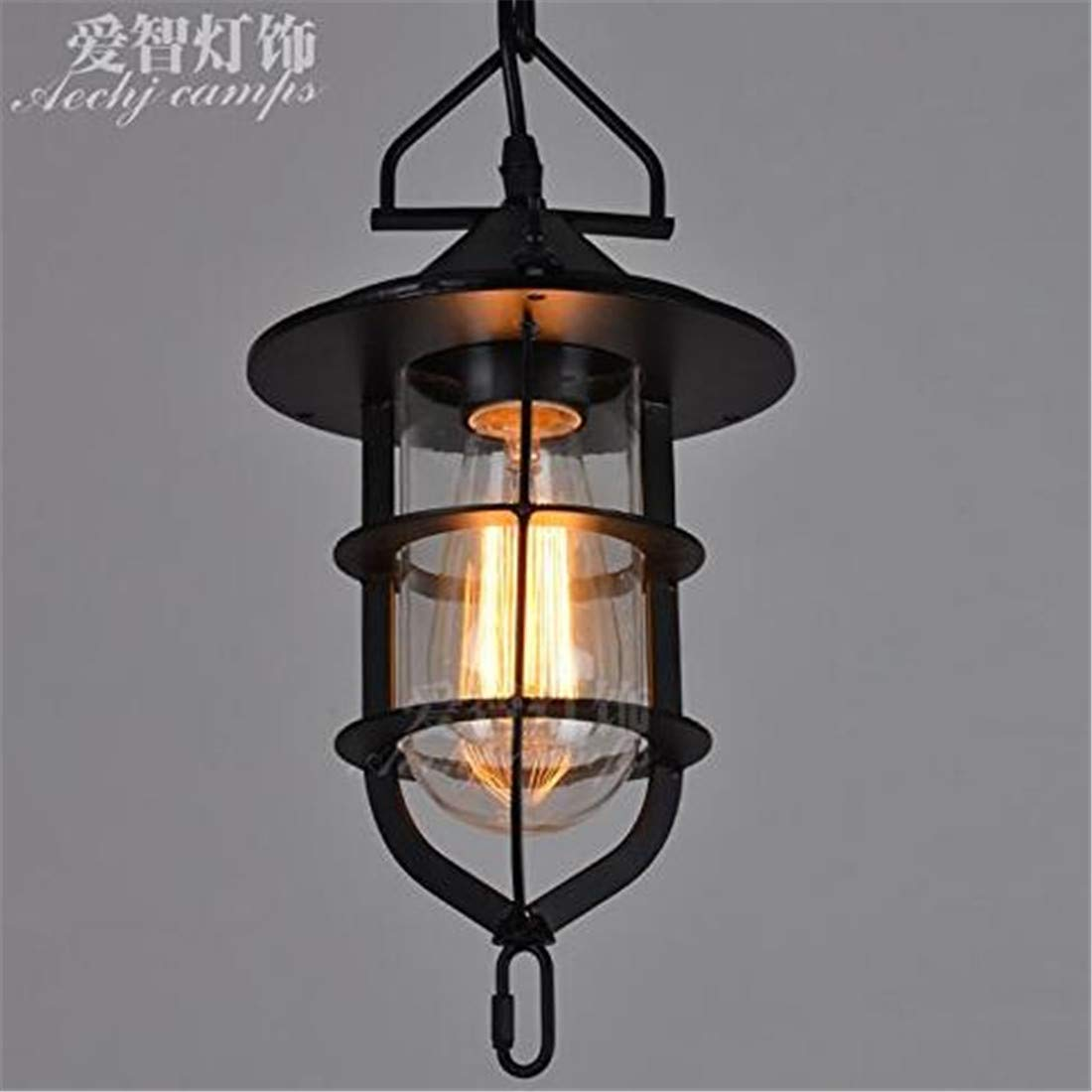 Vintage Chandelierwall Light Sconce E26 27 Base Antique Glass Iron Guest Room Wall Lights Loft Industrial Dock Chandeliers Cafe Bar Chandelier, schwarz