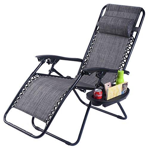 New MTN-G Folding Zero Gravity Reclining Lounge Chair Outdoor Beach Patio W/Utility Tray - Gray