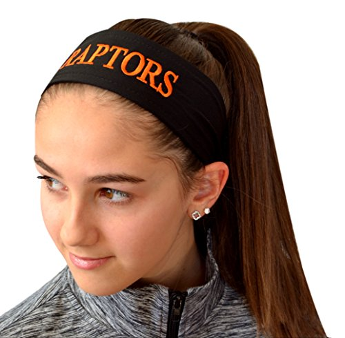 Funny Girl Designs Embroidered Tie Back Sweat Wicking Sport Headband with Your Custom Text - Personalize with Your Team Name (White TIE ()