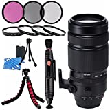 Fujifilm XF 100-400mm f/4.5-5.6 R LM OIS WR Lens 16501109 + 77mm 3 Piece Filter Kit + 77mm Macro Close Up Kit + Lens Cleaning Kit + Lens Pen Cleaner + Flexible Tripod Bundle