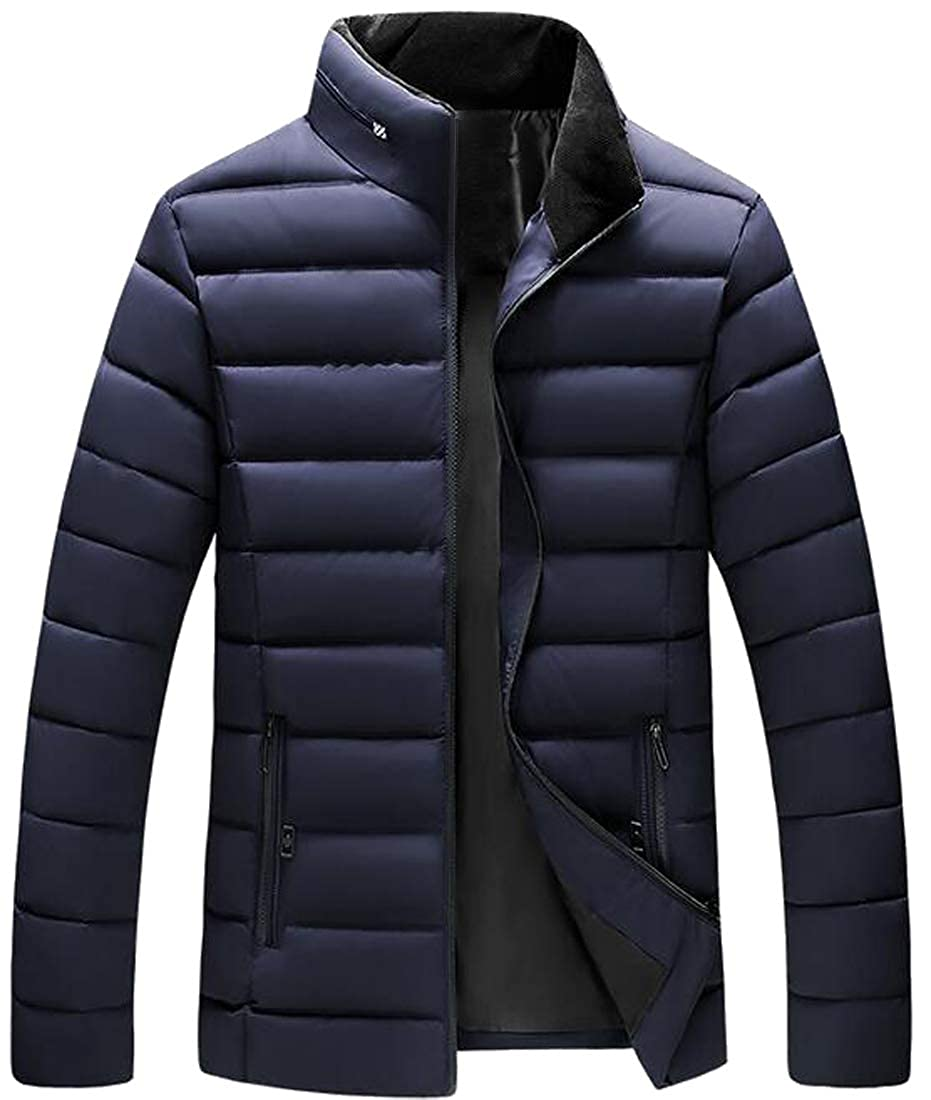 Jofemuho Men Stand Collar Winter Full-Zip Thick Down Quilted Jacket Coat Outwear
