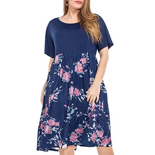 999b67f083e NUONITA Women s Plus Size Dresses Round Neck Floral Print Dress with Pockets
