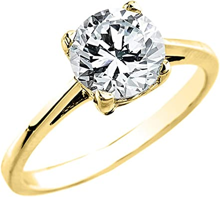 10k Yellow Gold Elegant 2 50 Carat Cubic Zirconia Solitaire Engagement Ring Amazon Com