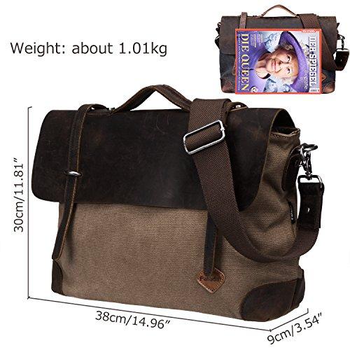 Fafada 14 Zoll Vintage Aktentasche Arbeittasche Messenger Bag Umhängetasche Schultertasche Laptoptasche aus Canvas Leder Kaffee 14 Zoll Braun 9YAeI0B