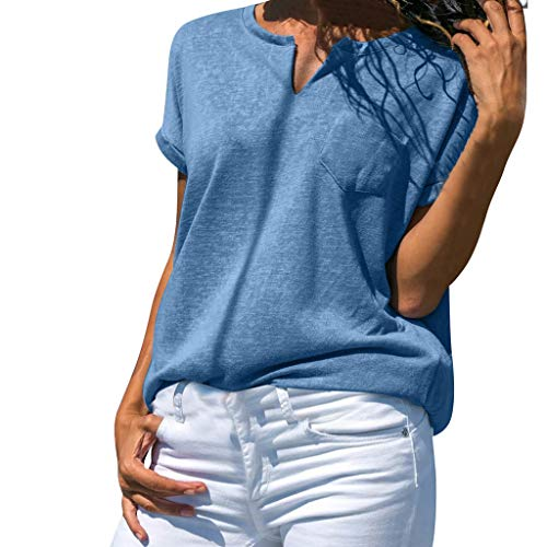 (Summer Women's O-Neck Pocket T Shirts Casual Loose Solid Short Sleeve Tank Tops Blue)
