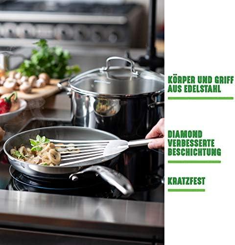 GreenChef Wok-Brat-pfanne Keramik-Beschichtung Induktionspfanne spülmaschinen-geeignet, Edelstahl, Silber, 28 cm