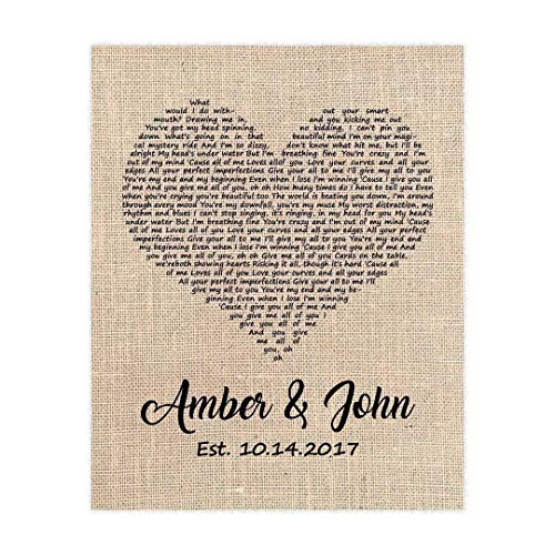 Wall Bolt Direct - Wedding Song Gift, First Dance Lyrics, Personalized with Your Song Choice