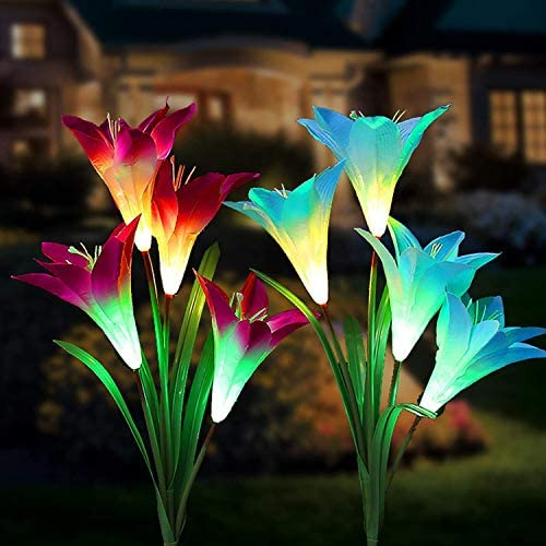 Tvird Outdoor Solar Garden Stake Lights,Solar Garden Lily Lights,2 Sets Solar Flowers with 8 Flowers,Multi-Colors Changing LED Decorative Lights Suit for Garden,Patio, Backyard Purple and Blue