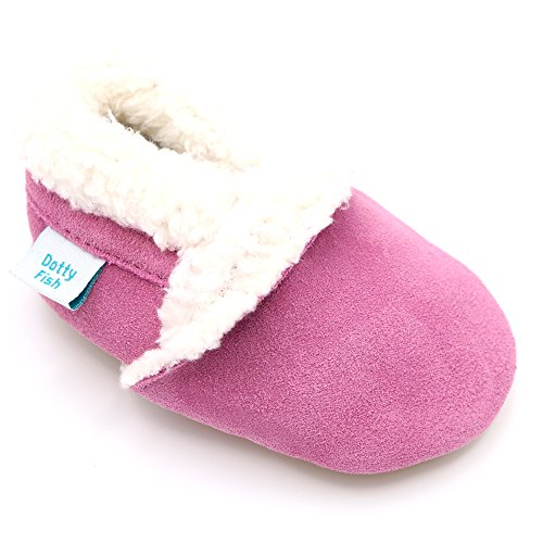Soft suede baby slippers for boys or girls by Dotty Fish with Suede Soles Tan and Pink