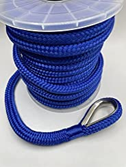 """EMPIRE ROPES MFP (Polypropylene) Double Braided 3/8""""X100'Anchor line, Rigging line Rope with 316 SS Metal Thim"""