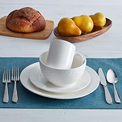 Pfaltzgraff Filigree White 32 Piece Dinnerware Set, Service for 8