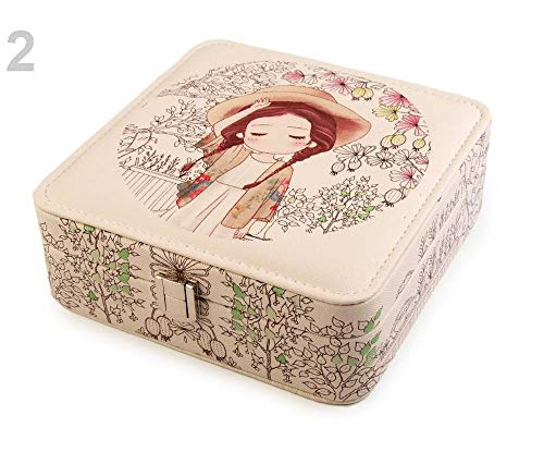 1pc 2 Brown Venison Jewellery Box with Printing 6.5x18x18 cm
