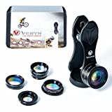 Cell Phone Camera Lens 5 in 1 Kit, Macro & Wide Angle Lens, Fisheye Lens, Telephoto 2X Zoom Lens, CPL Lens, Clip-on, Travel Camera by VENYN