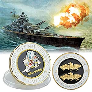 V/P- United States Navy Seabees Coins Collectibles Gold Copy Coins Seabee Warface Collection Coins Birthday Gifts Box, repilca toys by Vincent-Prestiges