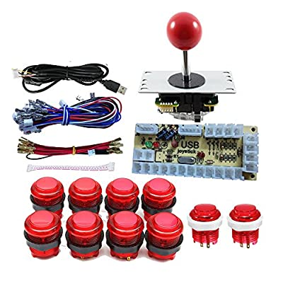 Tongmisi DIY Arcade Joystick Button Kit Parts USB Encoder to PC Controls Games + 10 x 5V led Illuminated Arcade Buttons + 5Pin Joystick (Red Kit): Toys & Games