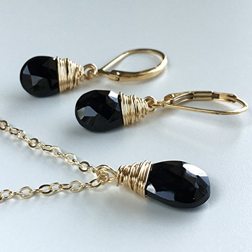 Black Spinel Necklace and Earrings Set - Jewelry Gift Set