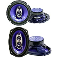 2) Pyle PL63BL 6.5 360W 3-Way + 2) 6x9 400W 4-Way Car Coaxial Speakers - Blue