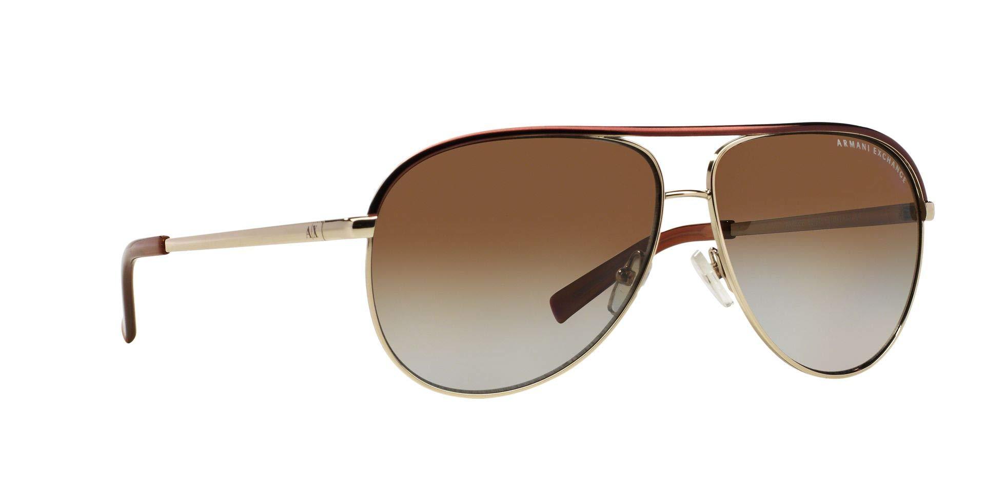 Armani Exchange Metal Unisex Polarized Aviator Sunglasses, Light Gold/Dark Brown, 61 mm by A|X Armani Exchange (Image #13)