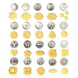 Decdeal 25Pcs Aluminium Alloy Press Machine Biscuit Making Pump Multi Pattern Cookie Biscuits Maker Cookies Mold Extruder Kitchen Cake Decorating 20 Moulds+ 4 Nozzles